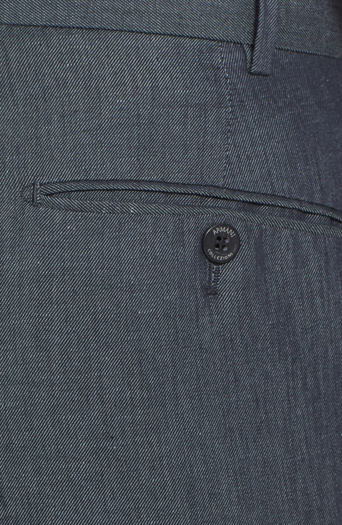 ,                             Armani Collezioni Flax & Cotton Flat Front Trousers,                             Alternate thumbnail 4, color,                             034