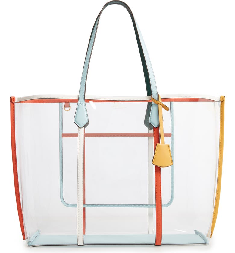 TORY BURCH Perry Transparent Tote, Main, color, CLEAR / MULTI