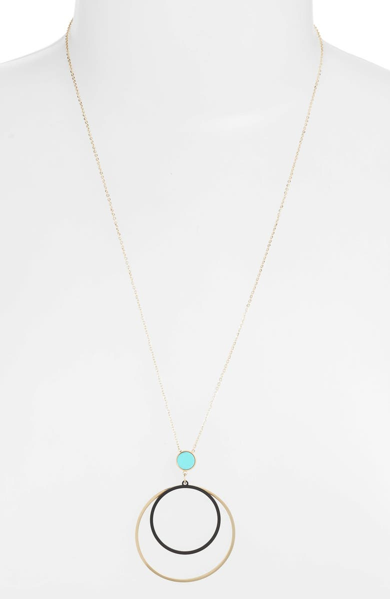 KNOTTY Sphere Focus Necklace, Main, color, GOLD/ TURQUOISE