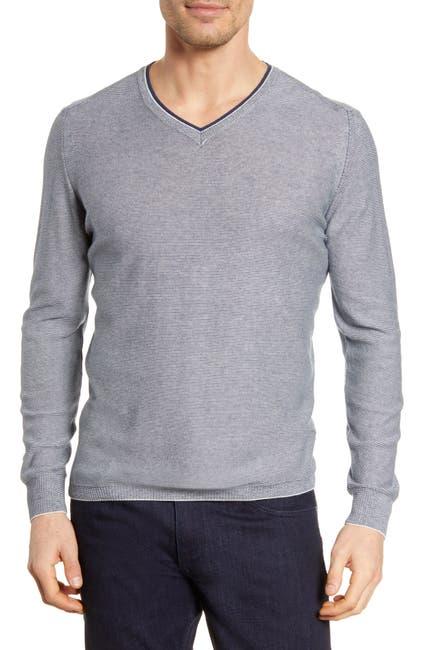 Image of Bugatchi Microstripe V-Neck Sweater