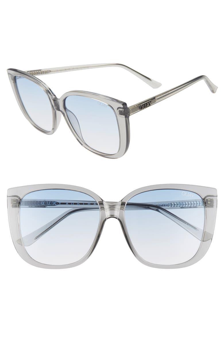 QUAY AUSTRALIA x Chrissy Teigen Ever After 59mm Cat Eye Sunglasses, Main, color, GREY/ BLUE