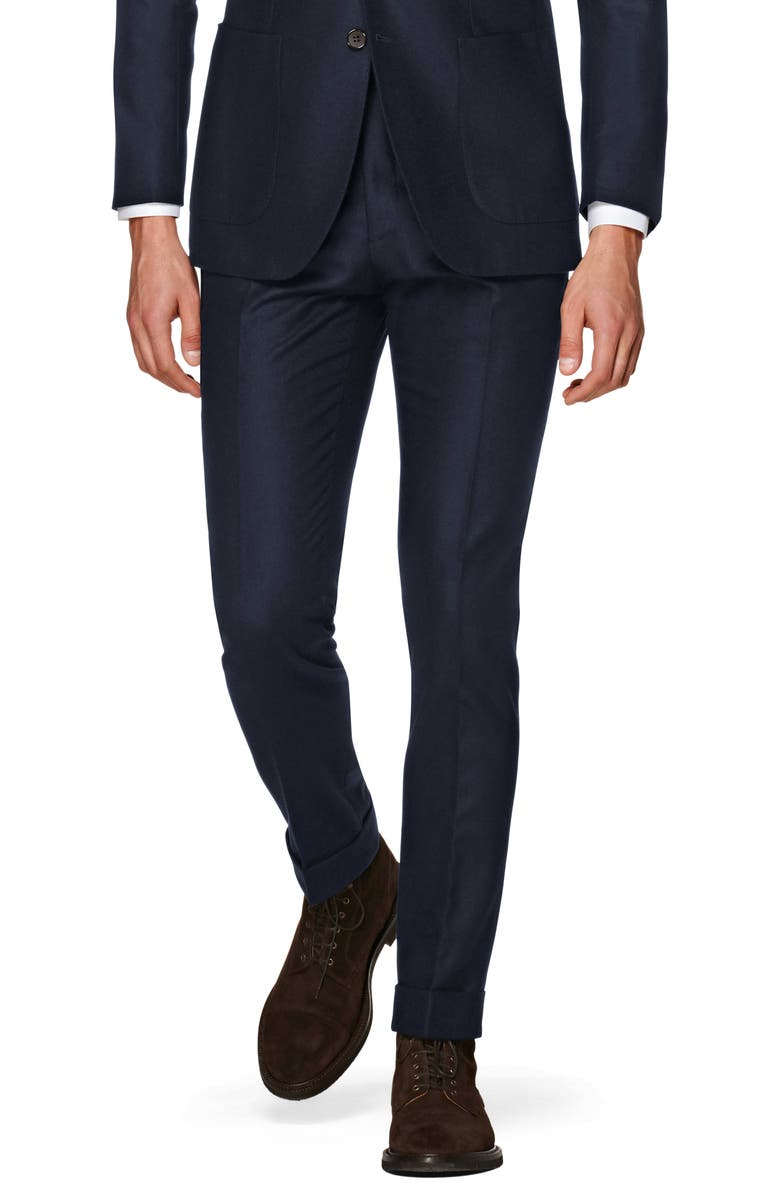 SUITSUPPLY Soho Flat Front Solid Wool Trousers, Main, color, NAVY