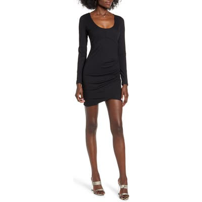 Row A Long Sleeve Ruched Ribbed Body-Con Dress, Black