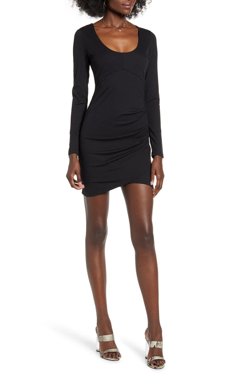 ROW A Long Sleeve Ruched Ribbed Body-Con Dress, Main, color, BLACK
