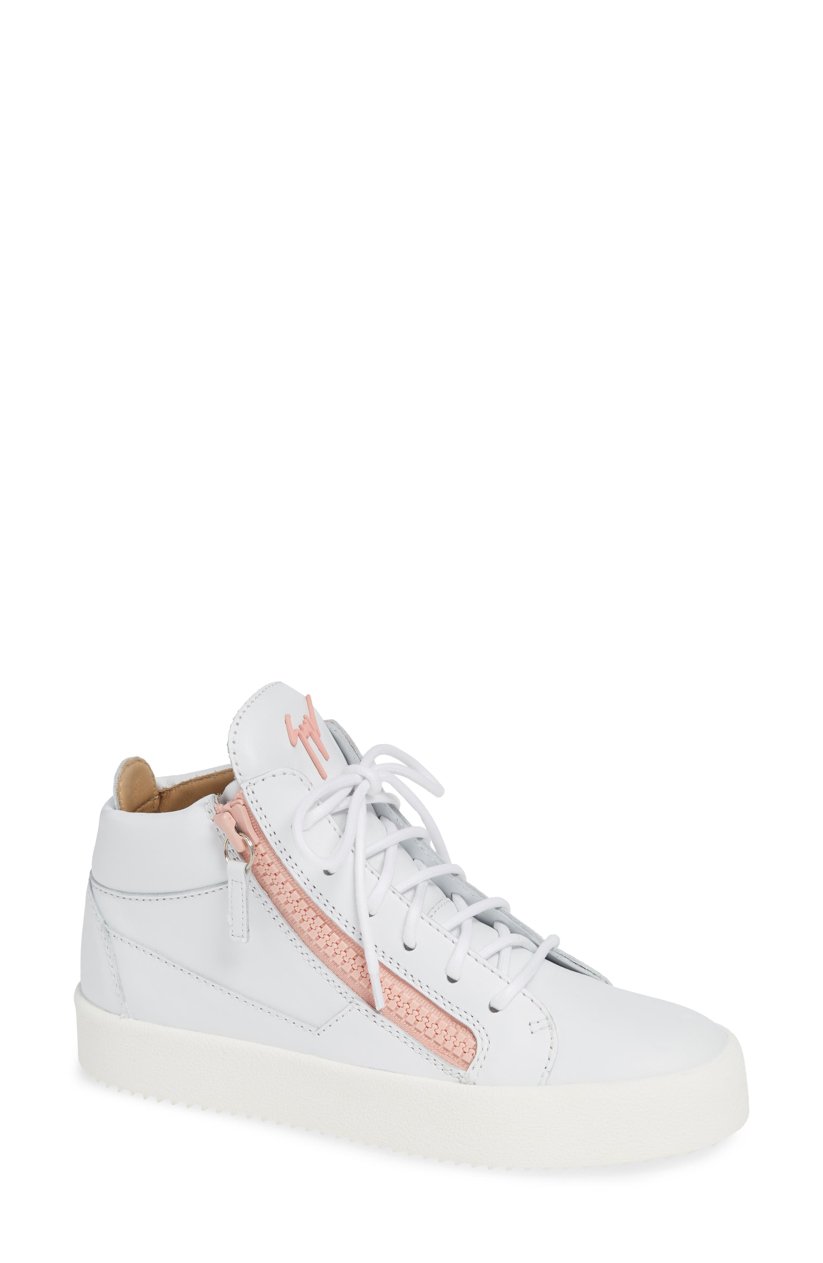May London High Top Sneaker, Main, color, WHITE/ PINK