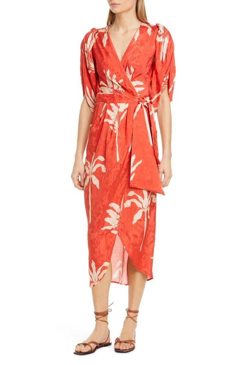 JOHANNA ORTIZ Belted Jacquard Midi Wrap Dress, Main, color, PAPRIKA RED/ ECRU