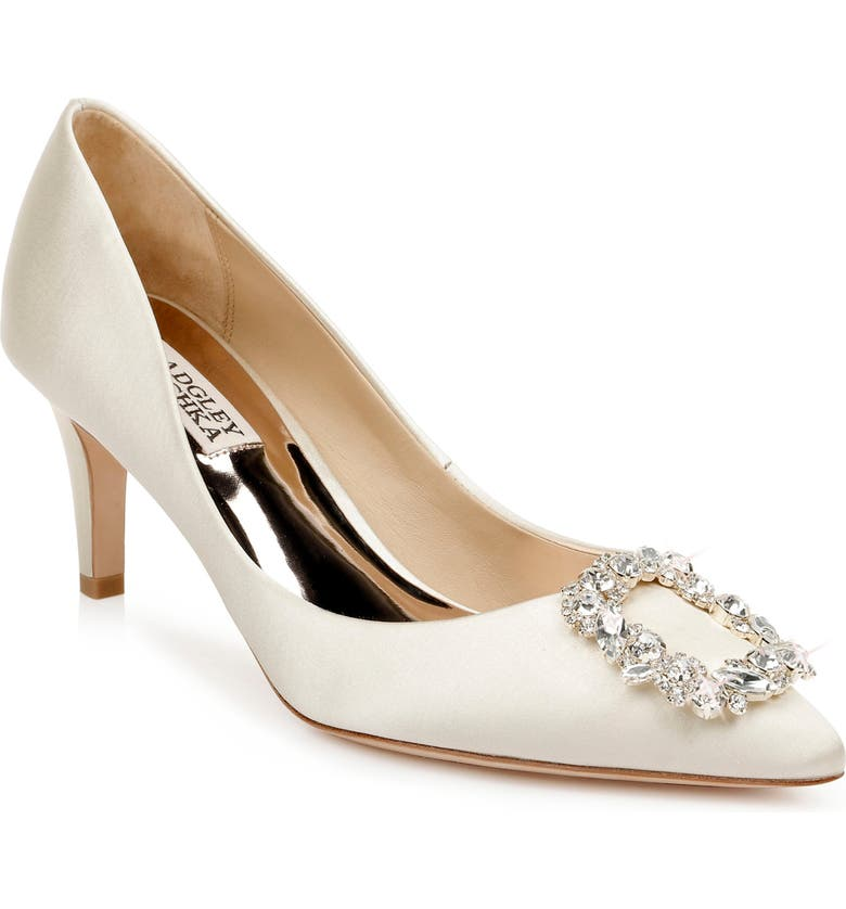 BADGLEY MISCHKA COLLECTION Badgley Mischka Carrie Crystal Embellished Pump, Main, color, IVORY SATIN
