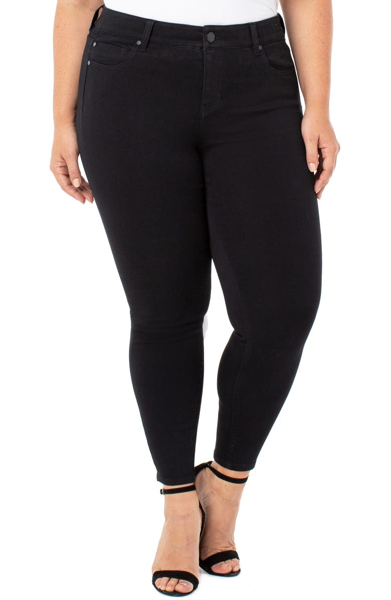 LIVERPOOL Abby Stretch Ankle Skinny Jeans, Main, color, BLACK RINSE