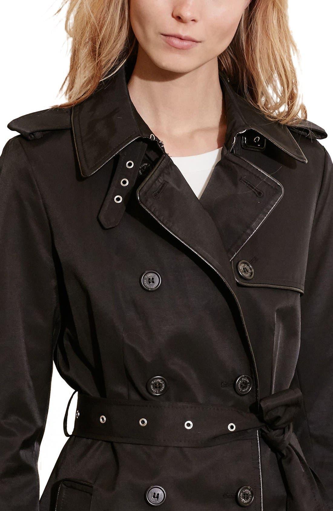 ,                             Faux Leather Trim Trench Coat,                             Alternate thumbnail 18, color,                             011