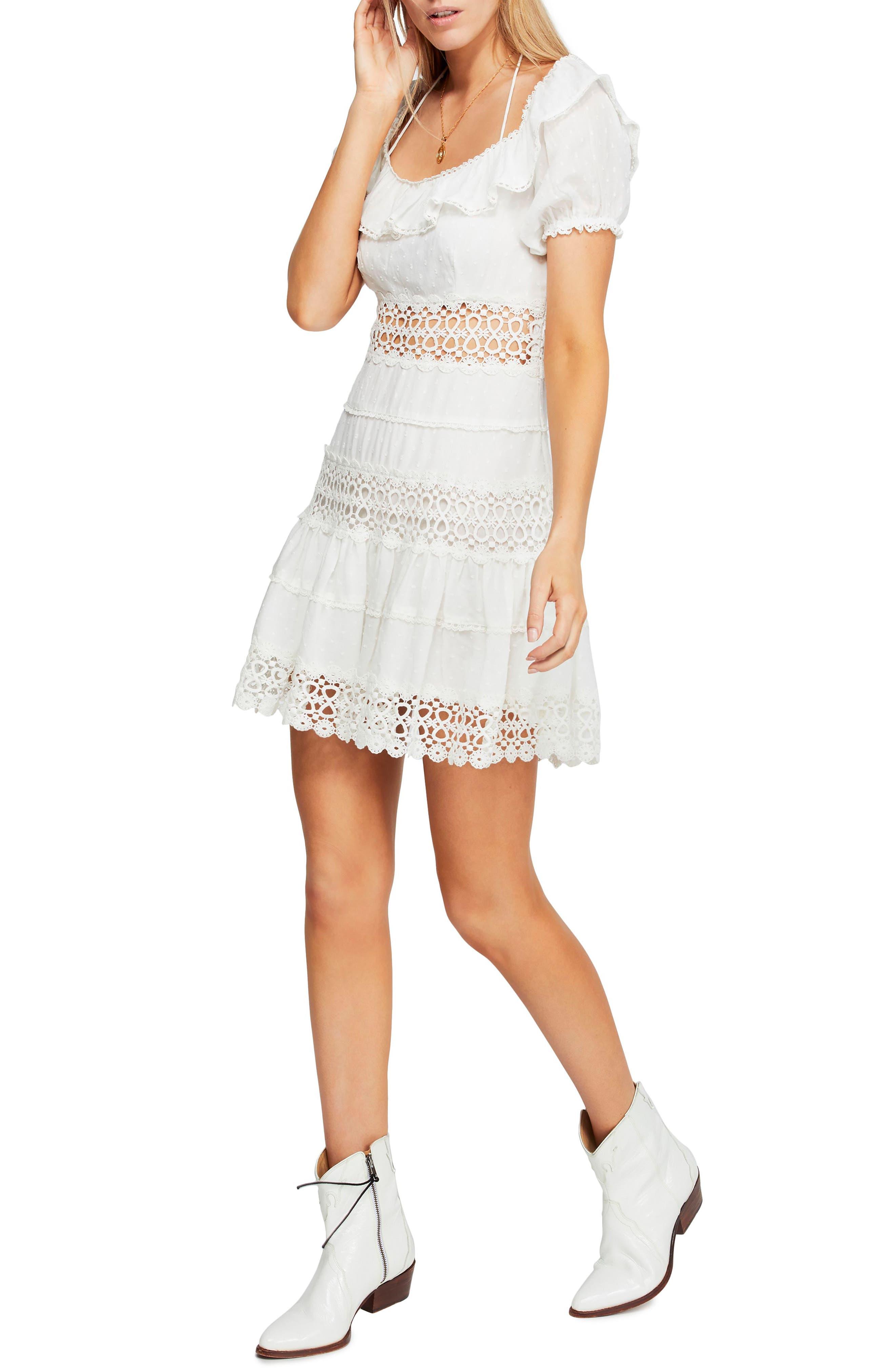 Free People Lace Minidress, Ivory