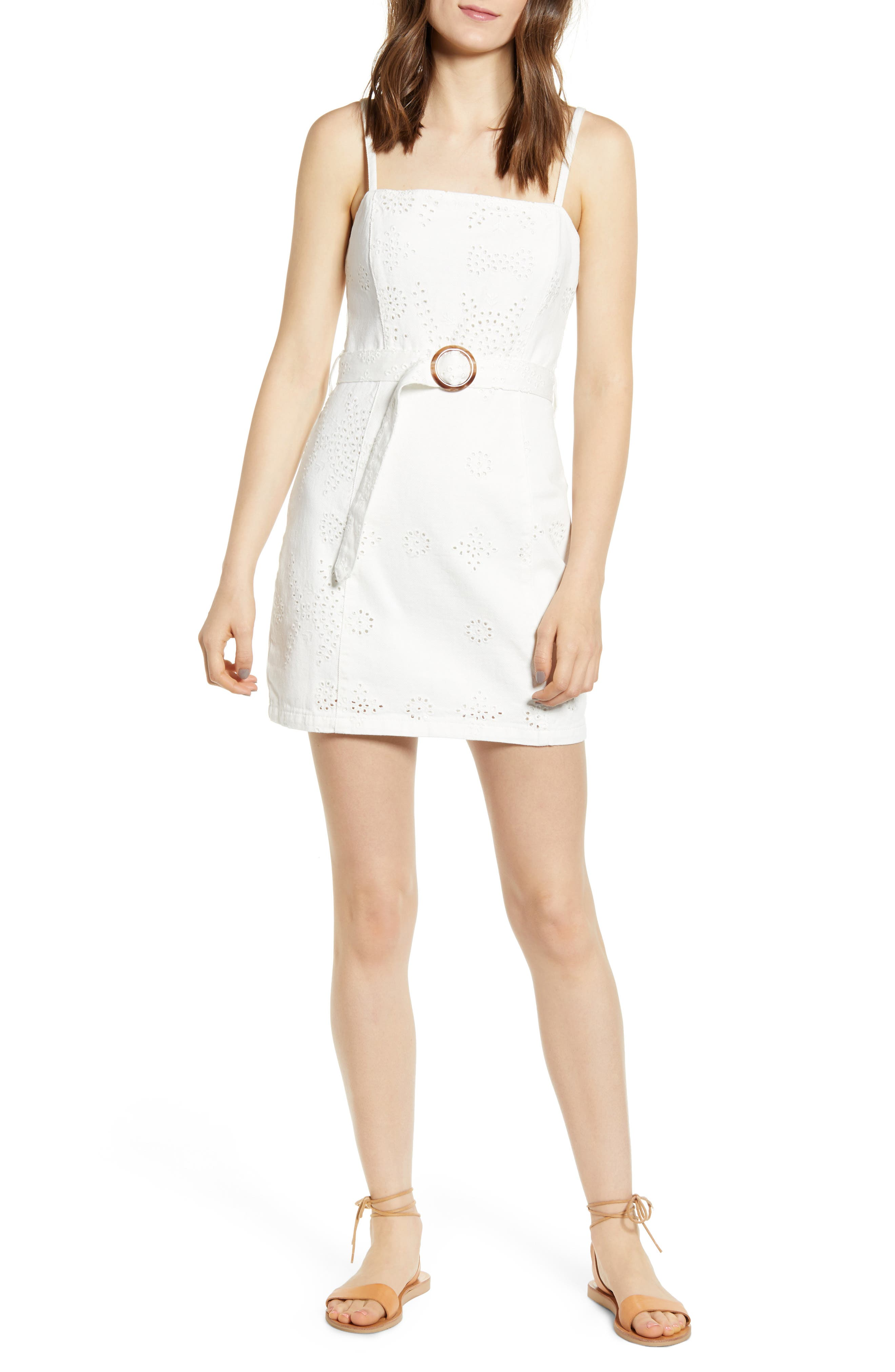 Minkpink To The Coast Broderie Anglaise Minidress, White