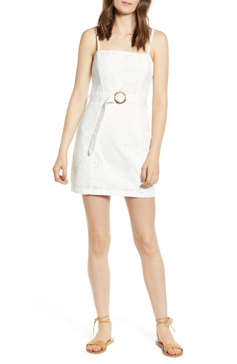 MINKPINK To the Coast Broderie Anglaise Minidress, Main, color, WHITE