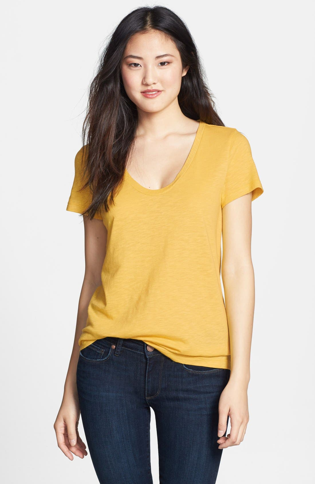 ,                             Relaxed Slub Knit U-Neck Tee,                             Main thumbnail 427, color,                             720