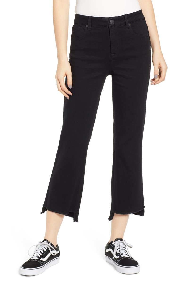 1822 DENIM Step Hem Crop Flare Jeans, Main, color, BLACK