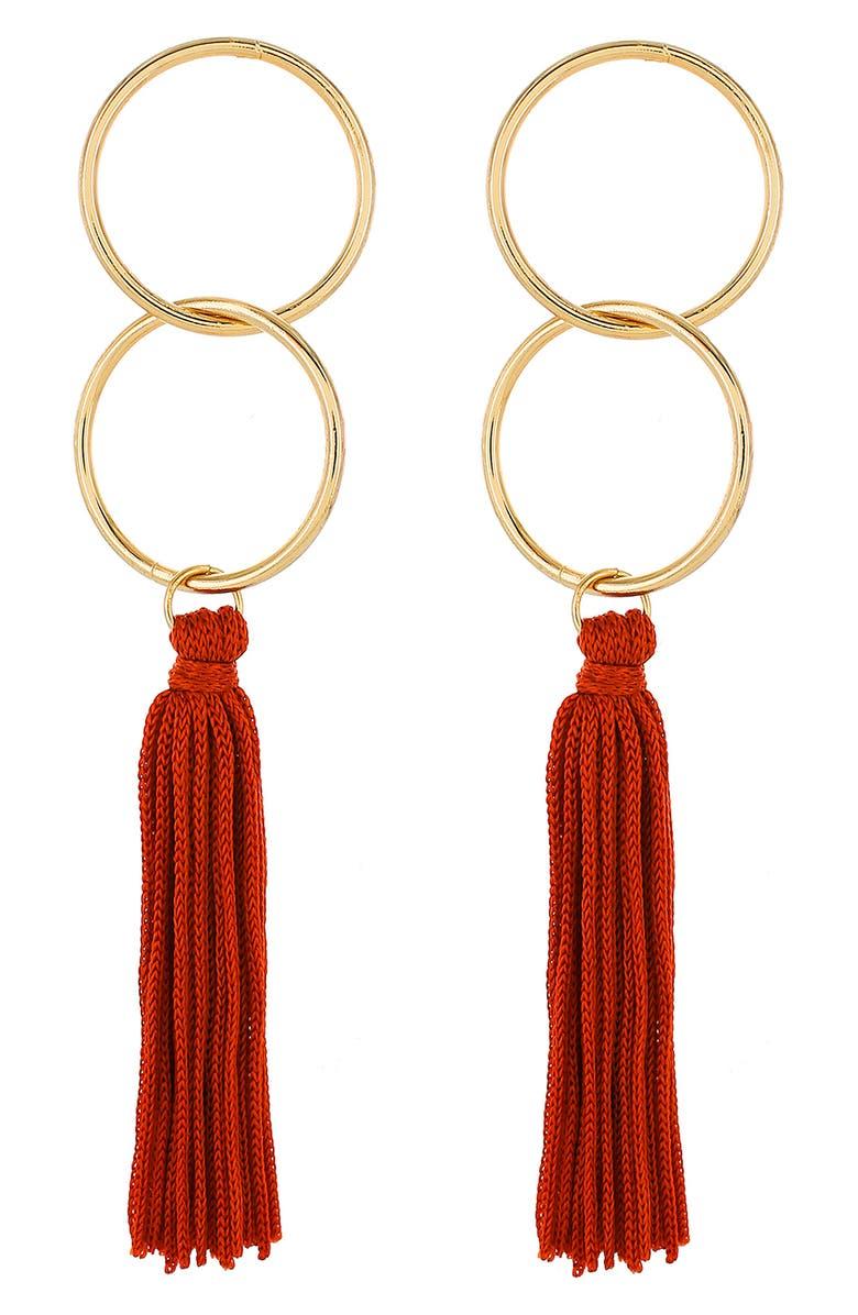 PANACEA Circle Tassel Earrings, Main, color, 600