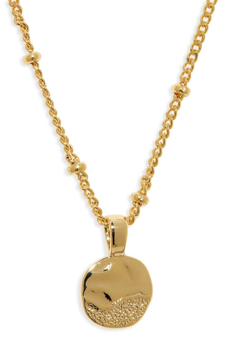 GORJANA Shorebreak Coin Pendant Necklace, Main, color, GOLD