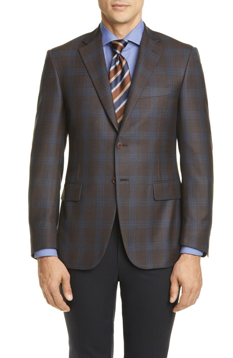 CANALI Sienna Soft Classic Fit Plaid Silk & Wool Sport Coat, Main, color, BROWN