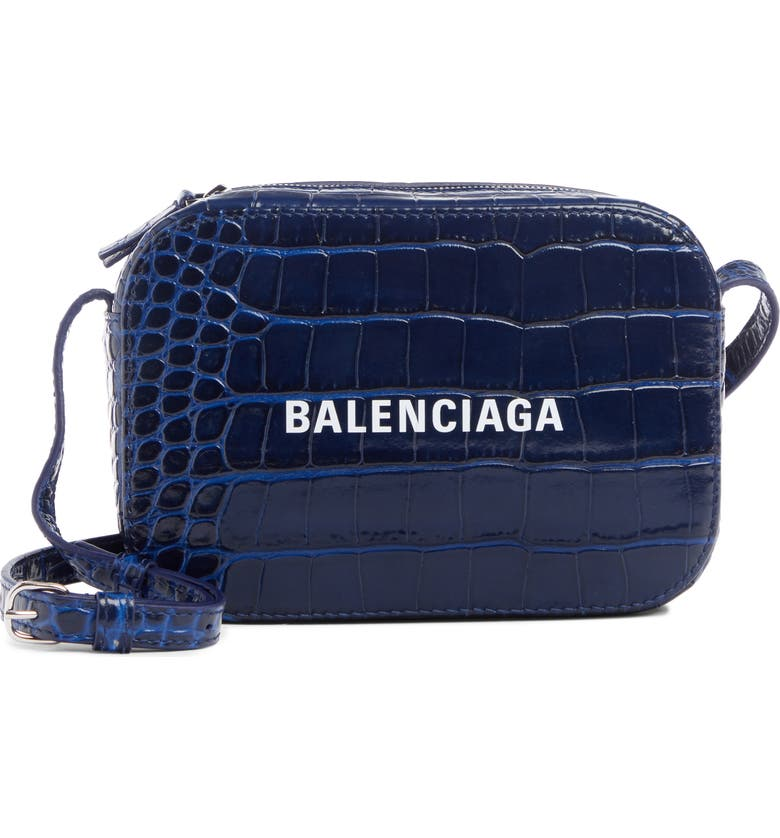 BALENCIAGA Extra Small Everyday AJ Croc Embossed Calfskin Leather Camera Bag, Main, color, NAVY