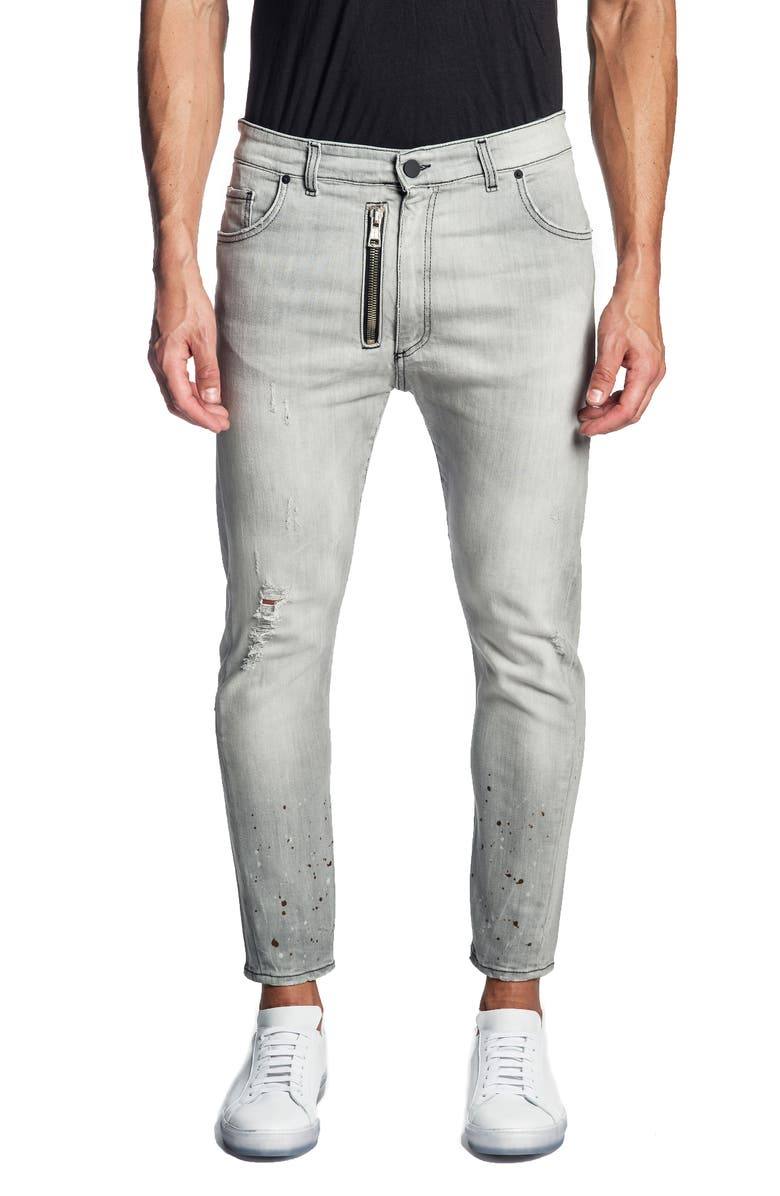 JARED LANG Distressed Skinny Jeans, Main, color, LIGHT GREY