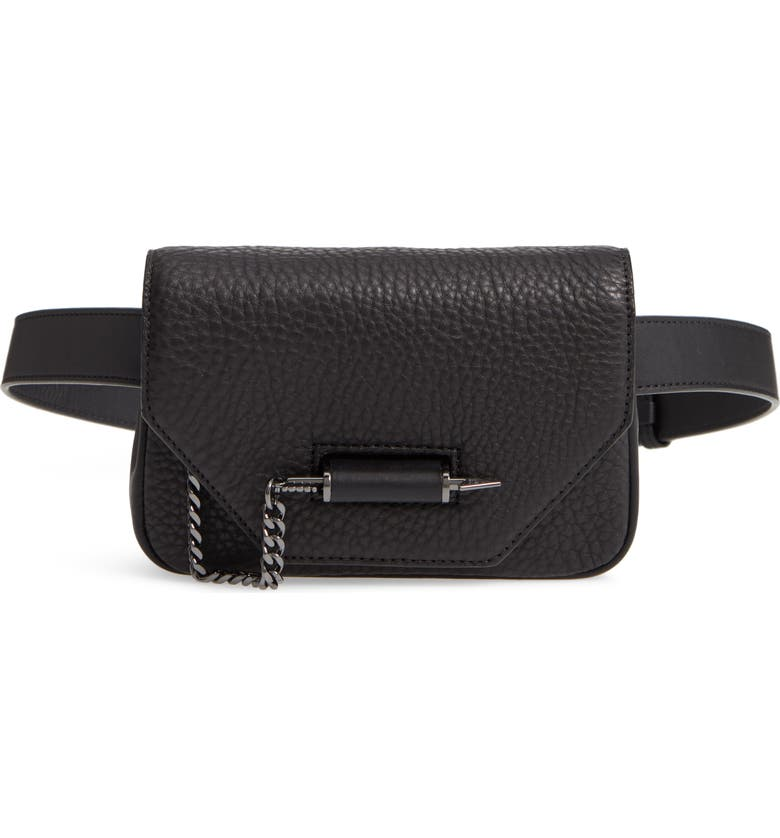 MACKAGE Devin Convertible Leather Belt Bag, Main, color, 001