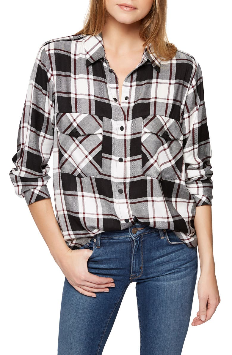SANCTUARY Plaid Boyfriend Shirt, Main, color, 197