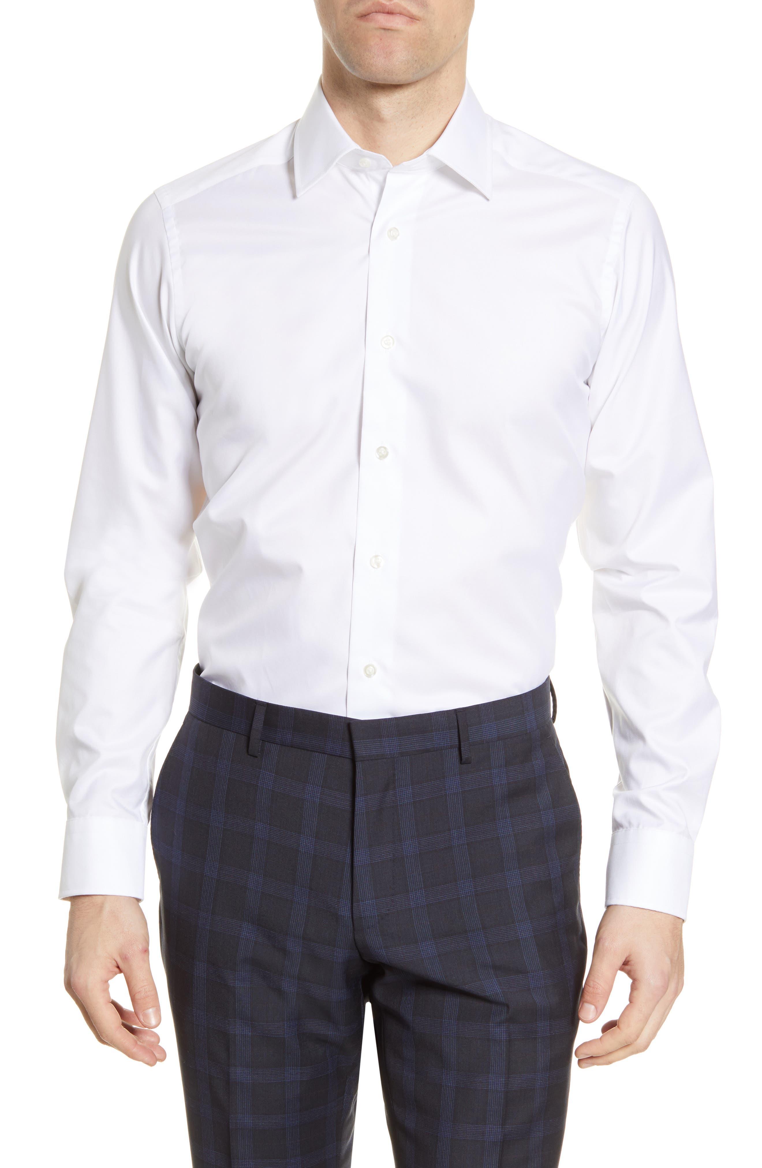 Slim Fit Solid Cotton Dress Shirt