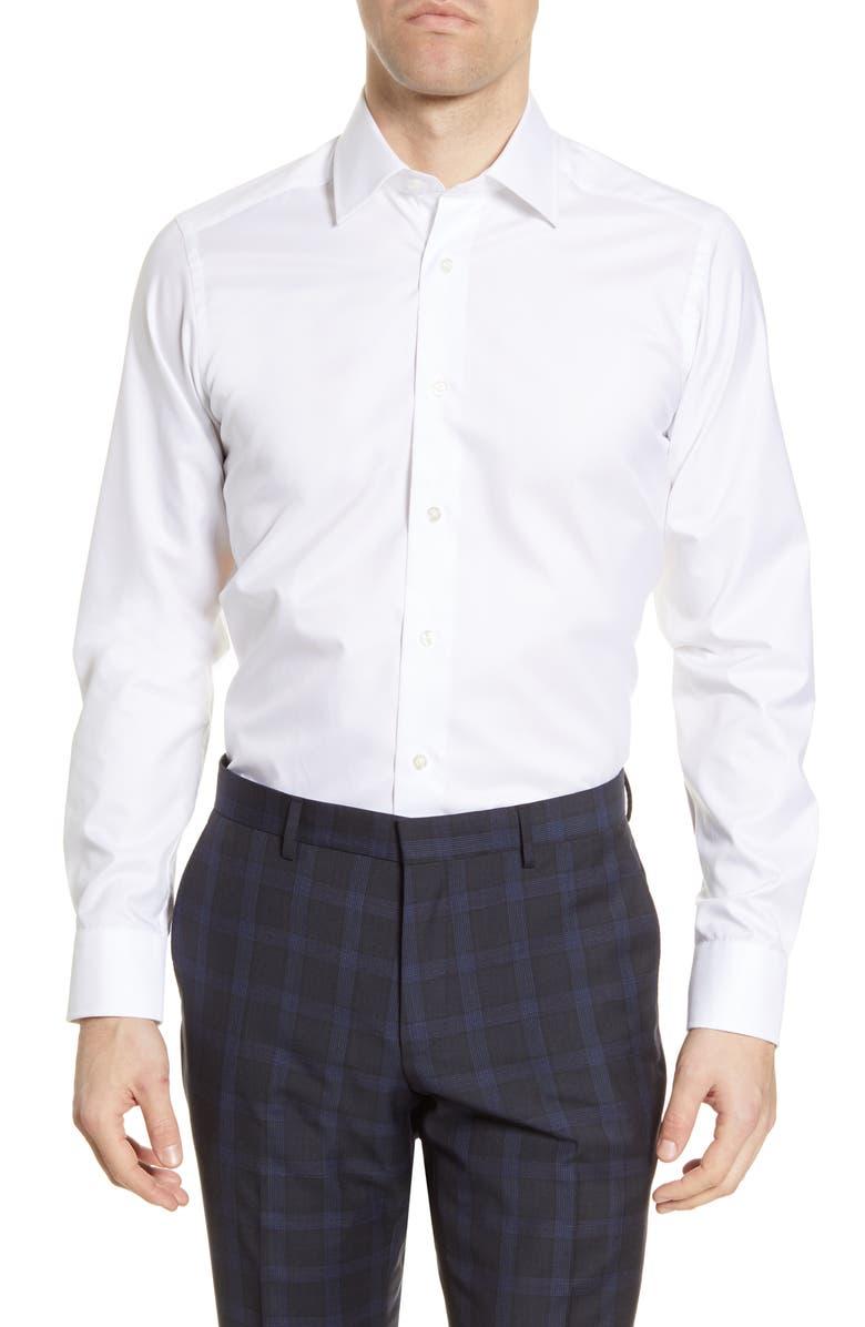 DAVID DONAHUE Slim Fit Solid Dress Shirt, Main, color, WHITE