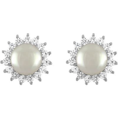 Majorica Simulated Pearl & Cubic Zirconia Stud Earrings