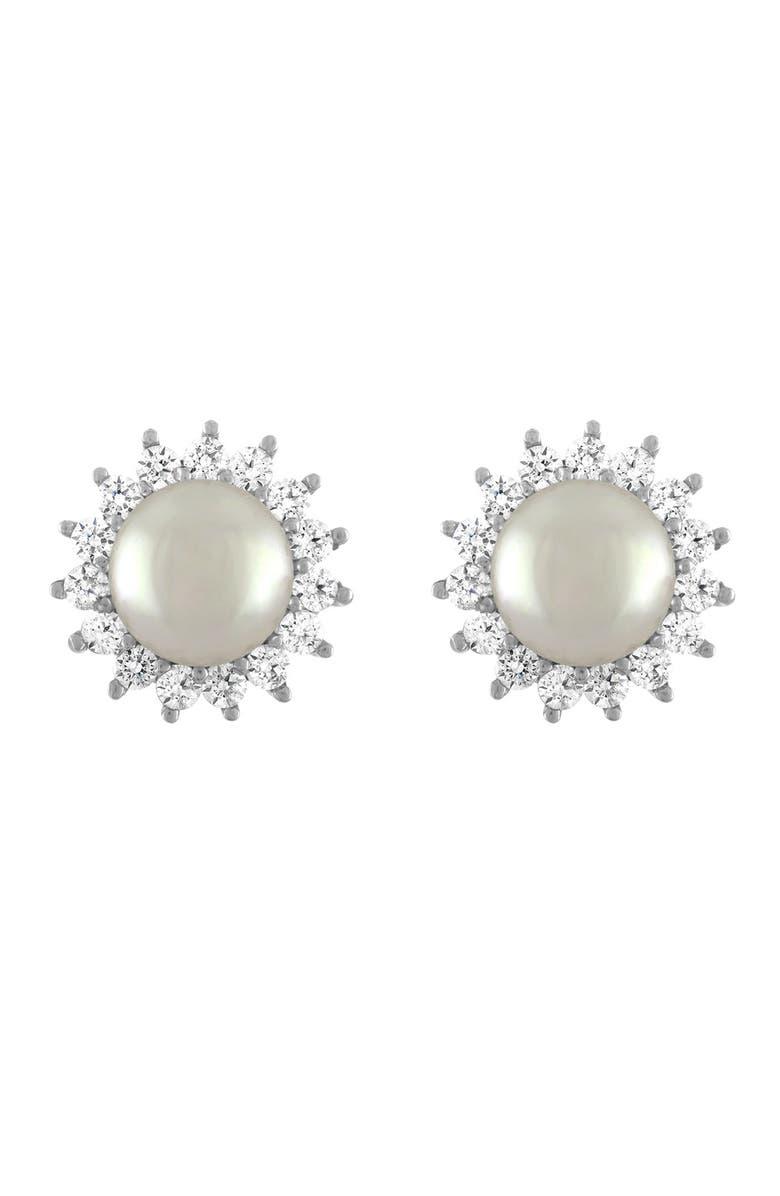 MAJORICA Simulated Pearl & Cubic Zirconia Stud Earrings, Main, color, WHITE