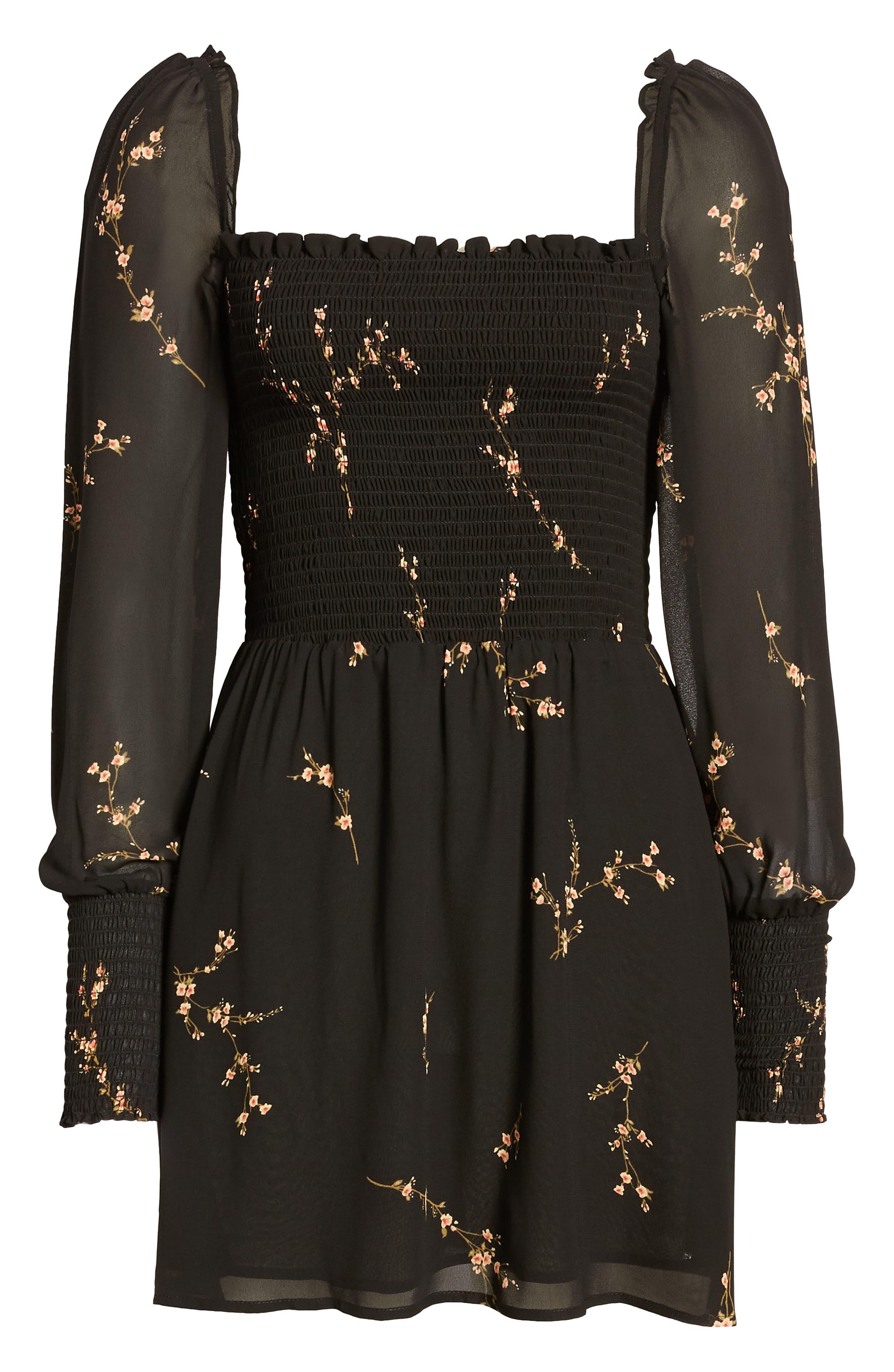 ,                             Kelli Smocked Bodice Fit & Flare Minidress,                             Alternate thumbnail 7, color,                             001