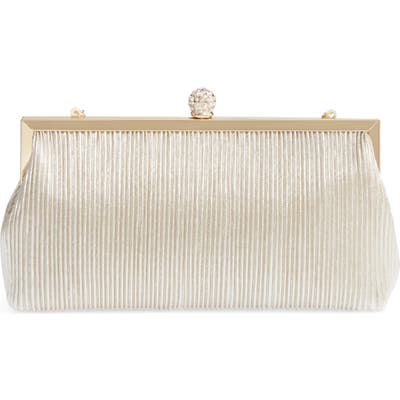 Nina Aneka Pleated Shine Clutch - Beige