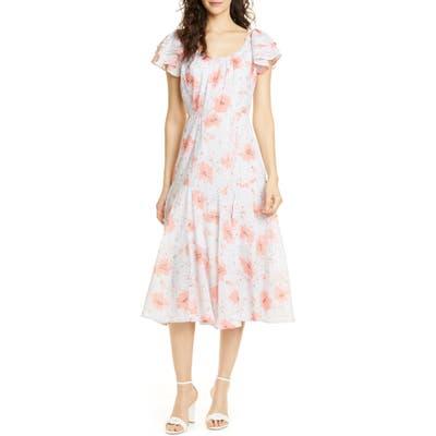 La Vie Rebecca Taylor Louise Floral A-Line Dress, Grey