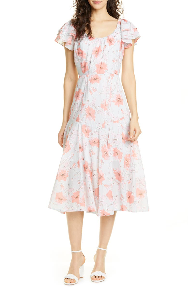 LA VIE REBECCA TAYLOR Louise Floral A-Line Dress, Main, color, ORANGE GREY COMBO