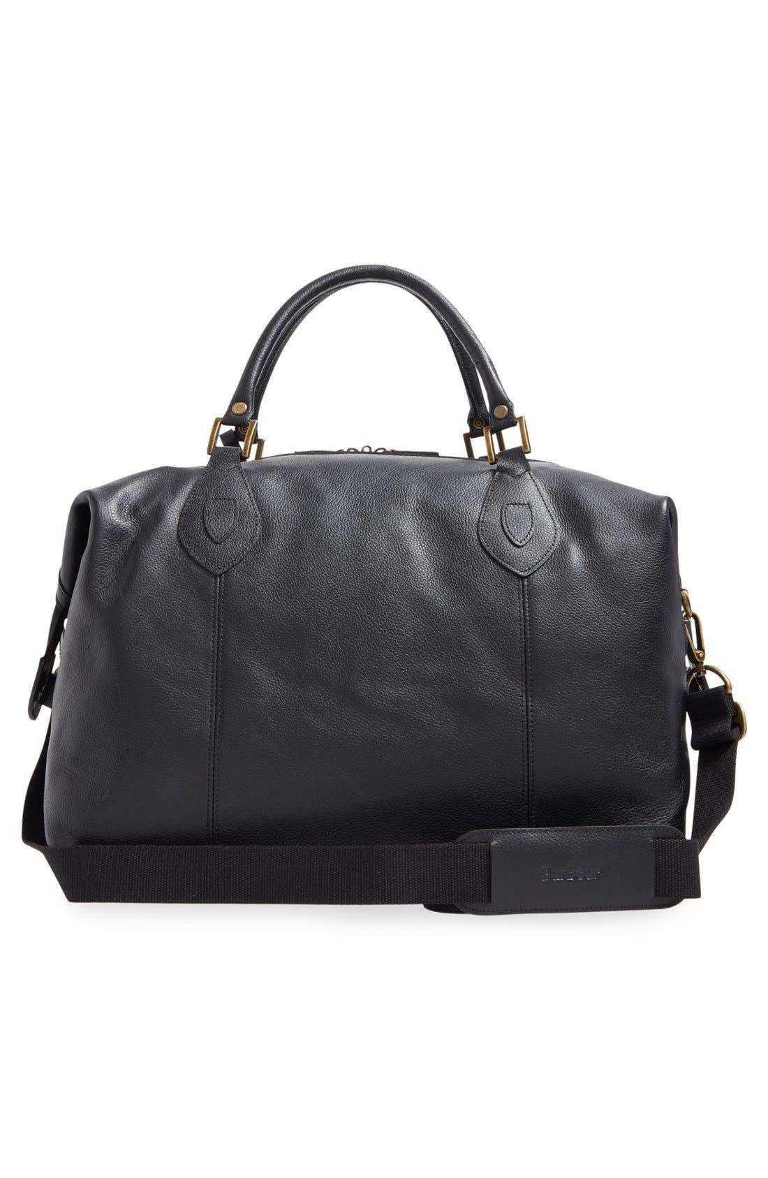 ,                             Leather Duffle Bag,                             Alternate thumbnail 3, color,                             BLACK