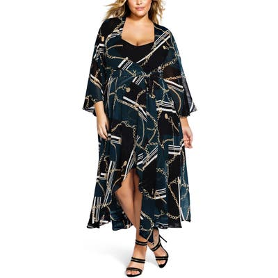 Plus Size City Chic Chained Up Maxi Dress, Black