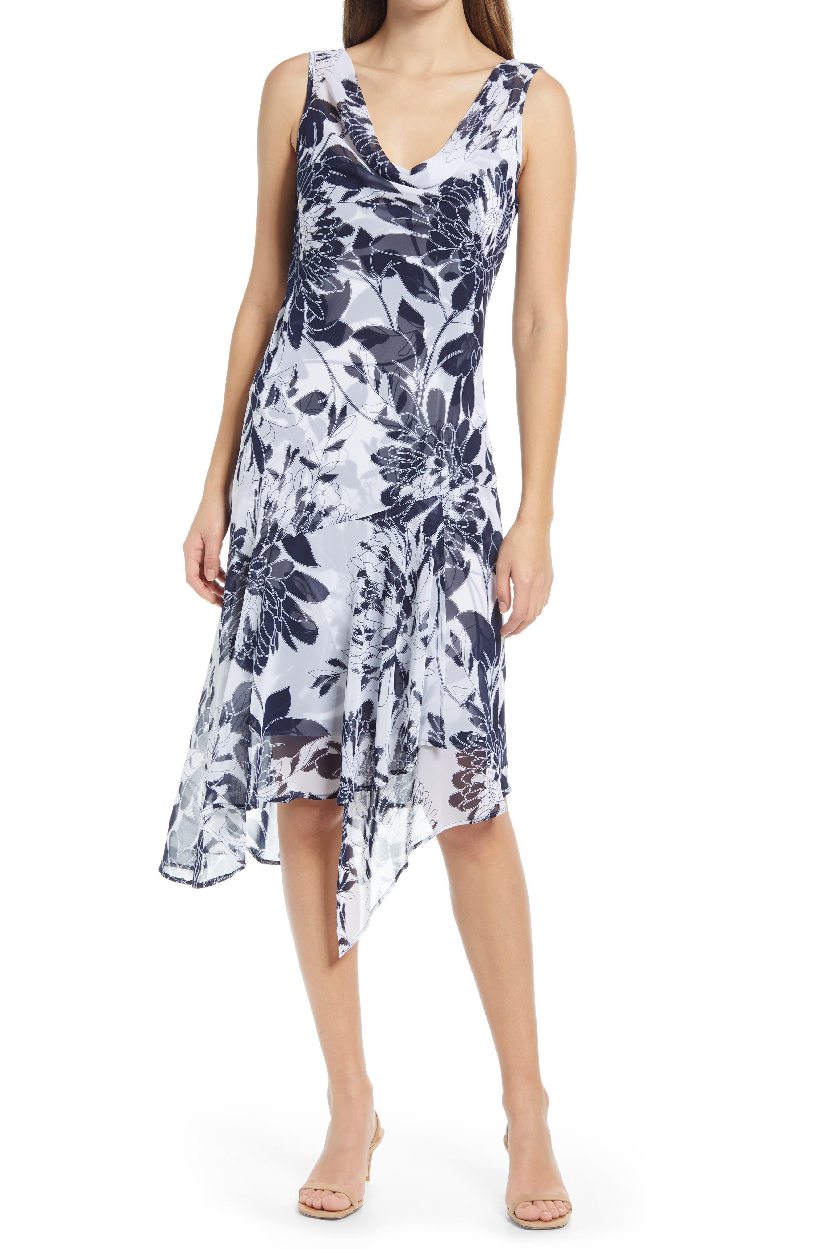 Floral Print Chiffon Asymmetrical Hem Dress