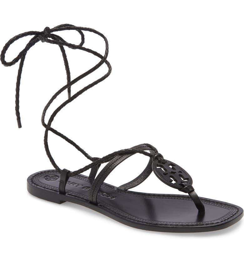 TORY BURCH Miller Braided Ankle Tie Logo Sandal, Main, color, PERFECT BLACK