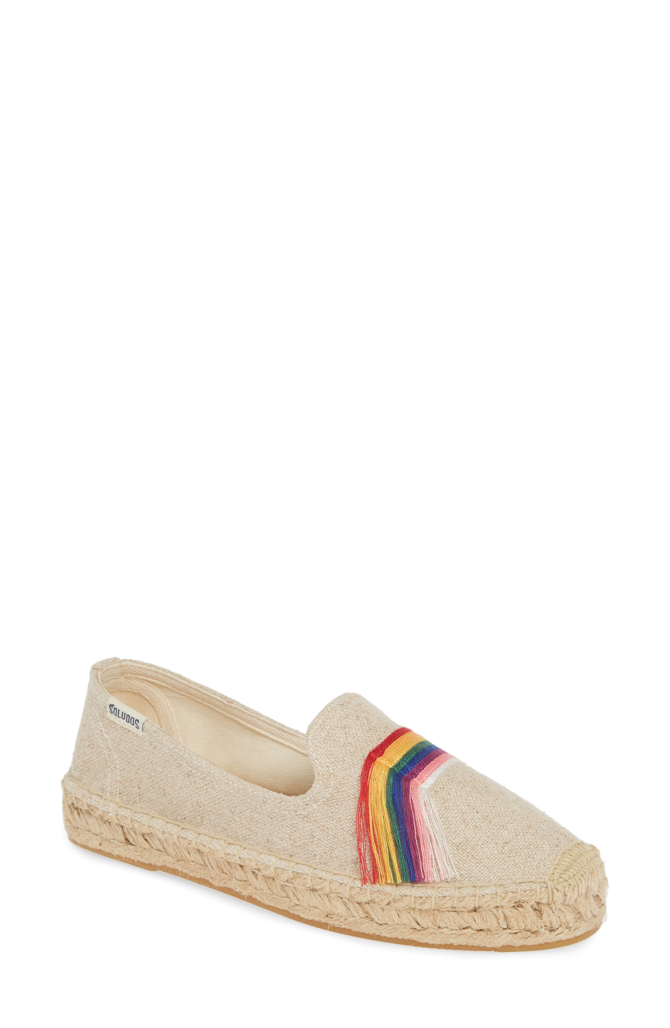 Retro Vintage Flats and Low Heel Shoes Womens Soludos Pride Espadrille Flat $84.95 AT vintagedancer.com