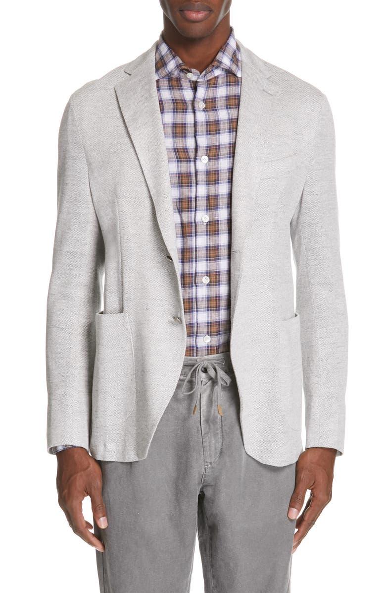 ELEVENTY Trim Fit Jersey Linen Blend Sport Coat, Main, color, 022