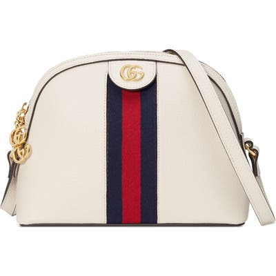 Gucci Small Ophidia Leather Shoulder Bag - White