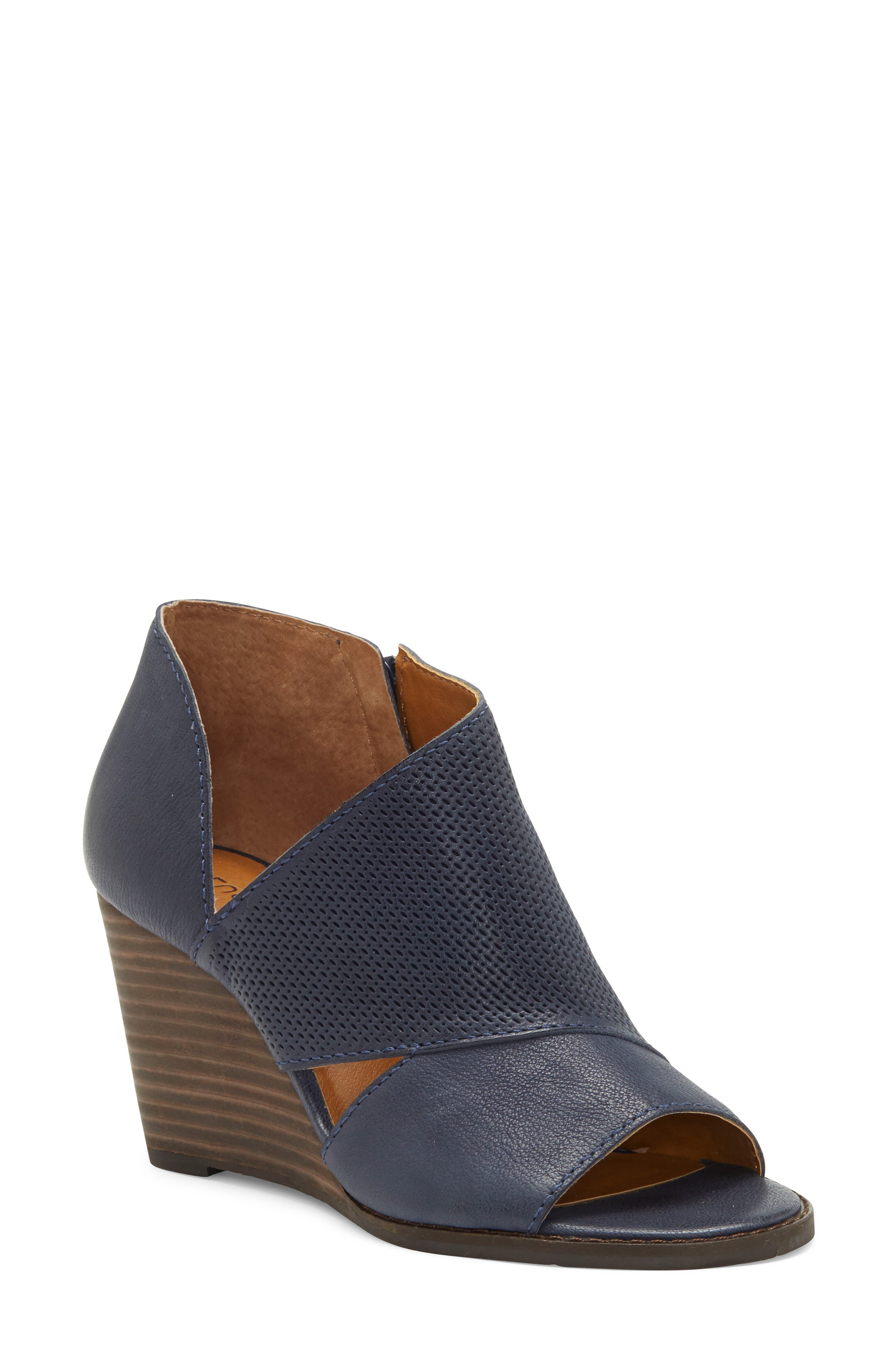 Lucky Brand Jedrek Perforated Open Toe Wedge Bootie (Women)