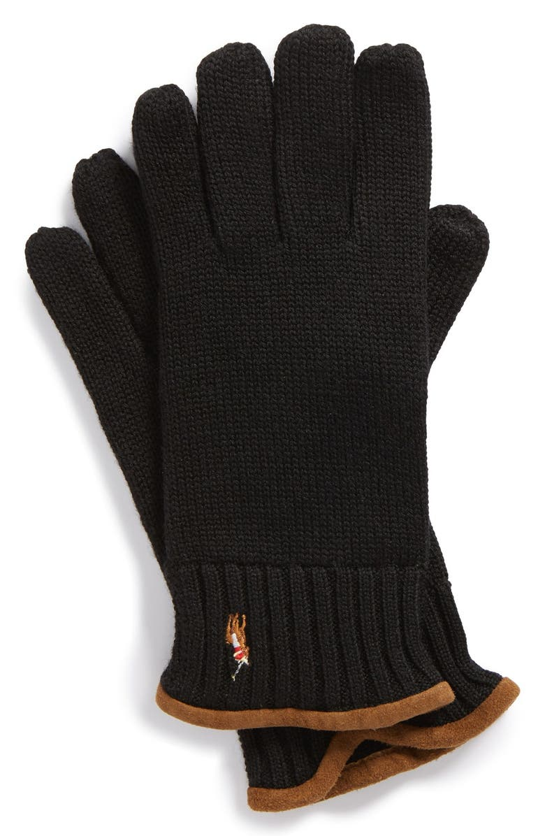 POLO RALPH LAUREN 'Classic Lux' Merino Wool Gloves, Main, color, 001