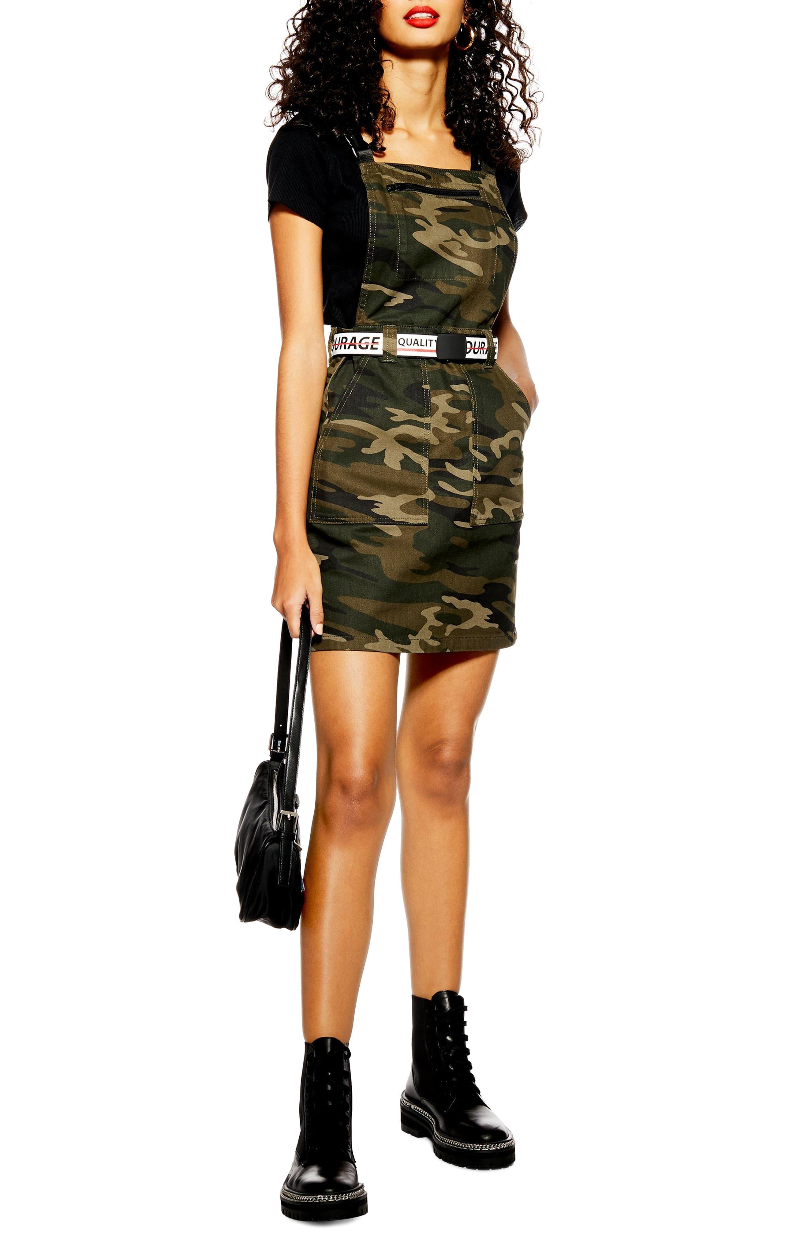 Topshop Camo Denim Buckle Pinafore Dress, US (fits like 0) - Green