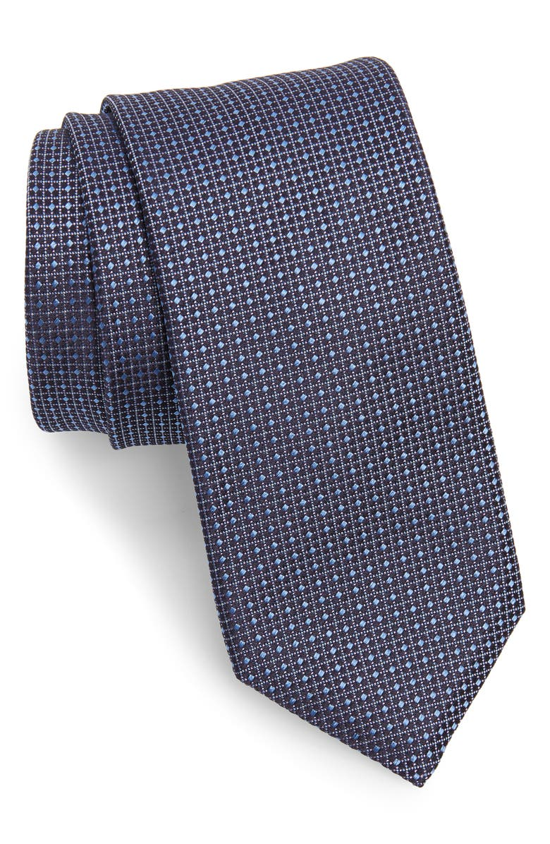 BOSS Grid Silk Tie, Main, color, 419
