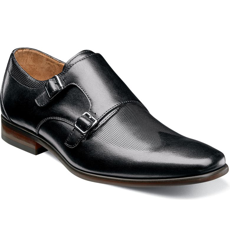 FLORSHEIM Postino Textured Double Strap Monk Shoe, Main, color, BLACK LEATHER