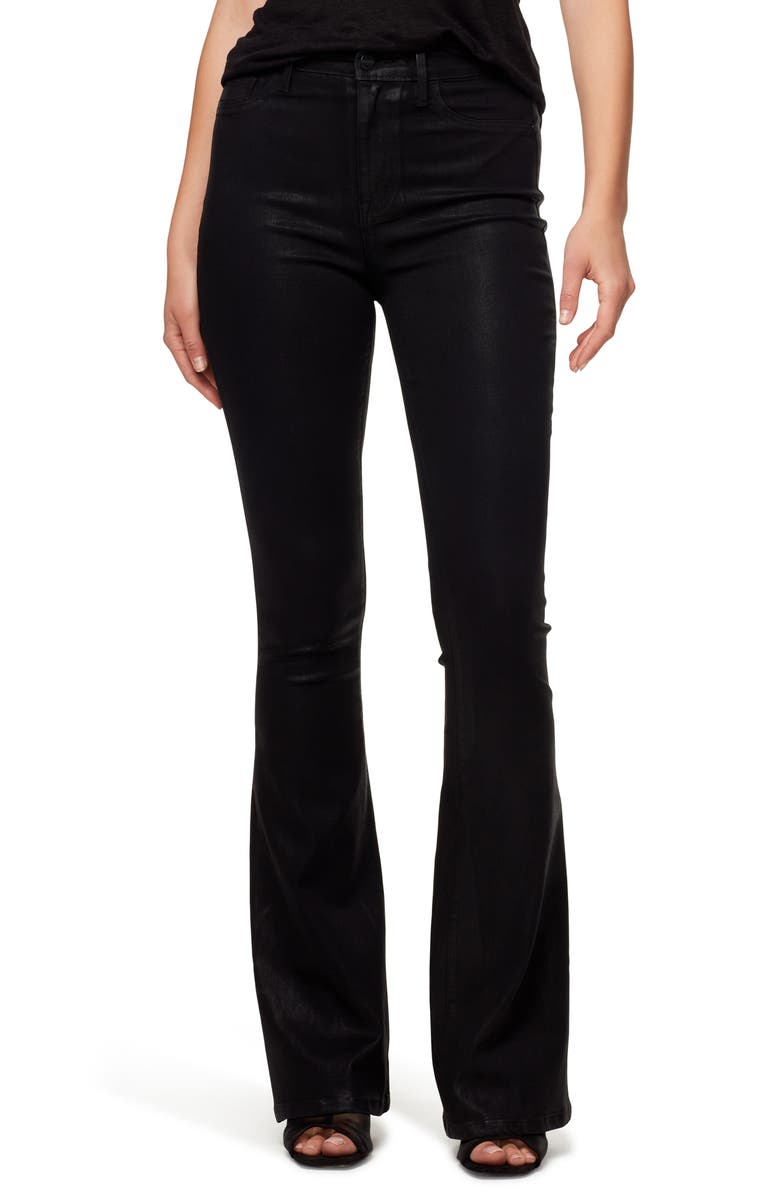 SANCTUARY High Waist Flare Leg Jeans, Main, color, SLICK BLACK