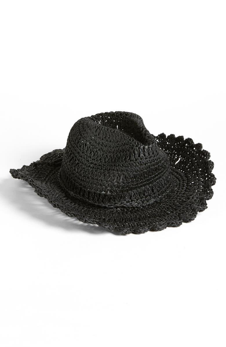 TARNISH Scalloped Brim Cowboy Hat, Main, color, 001