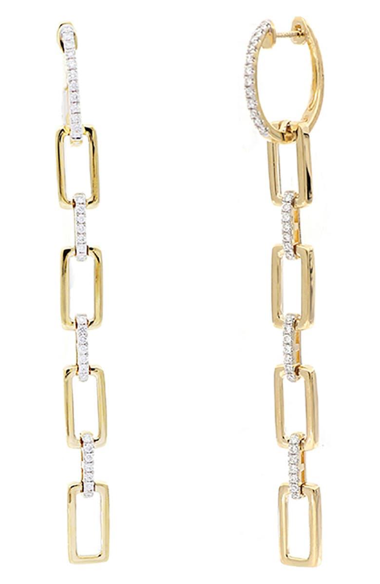 BONY LEVY Varda Long Multi Link Earrings, Main, color, YELLOW GOLD/ DIAMOND