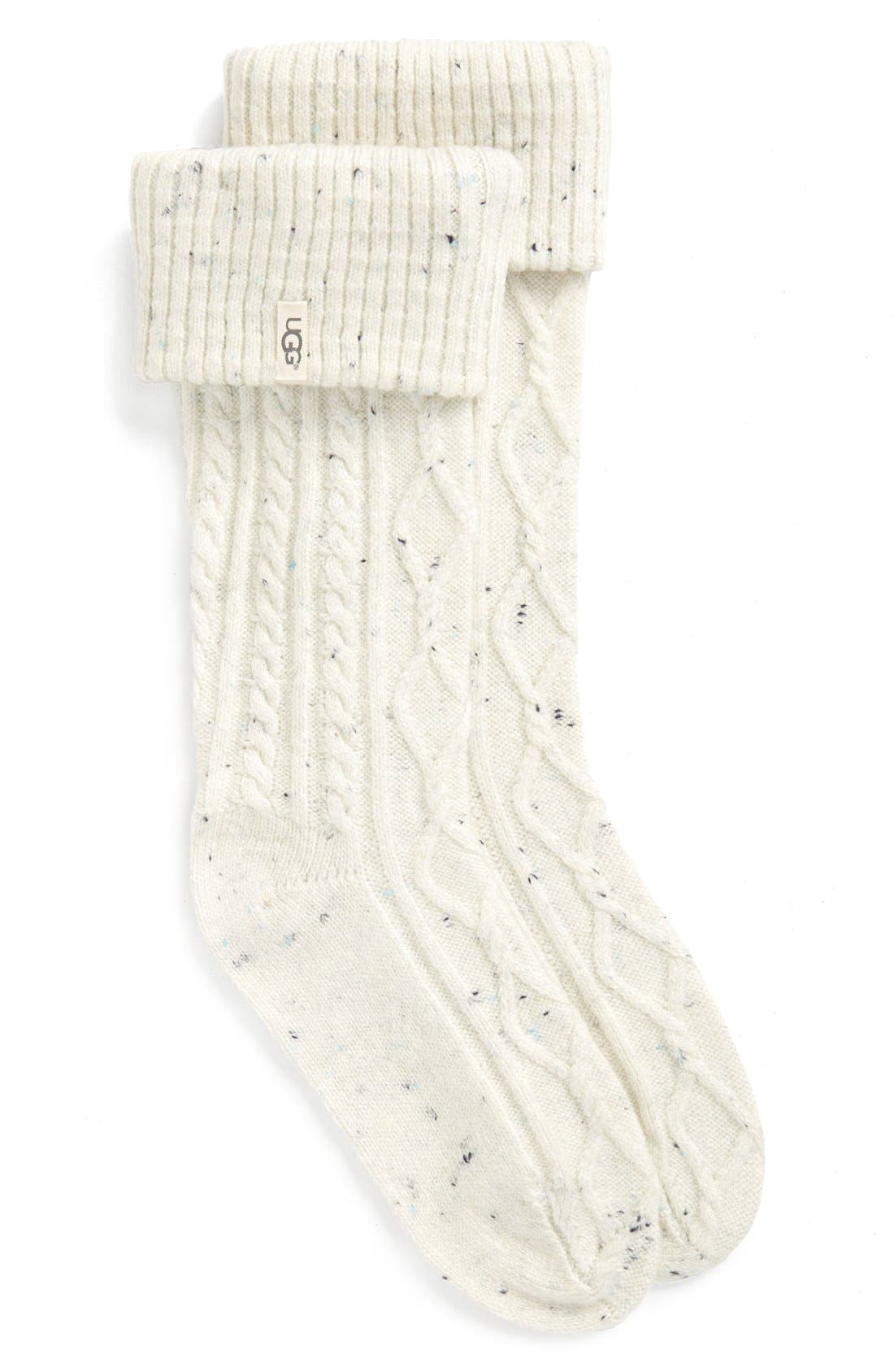 A tall boot sock shaped from a supersoft blend of fabrics is topped with a cozy knit cuff-letting you add warmth and comfort to your favorite footwear. Style Name: UGG \\\'shaye\\\' Tall Boot Socks (Women). Style Number: 5180616. Available in stores.