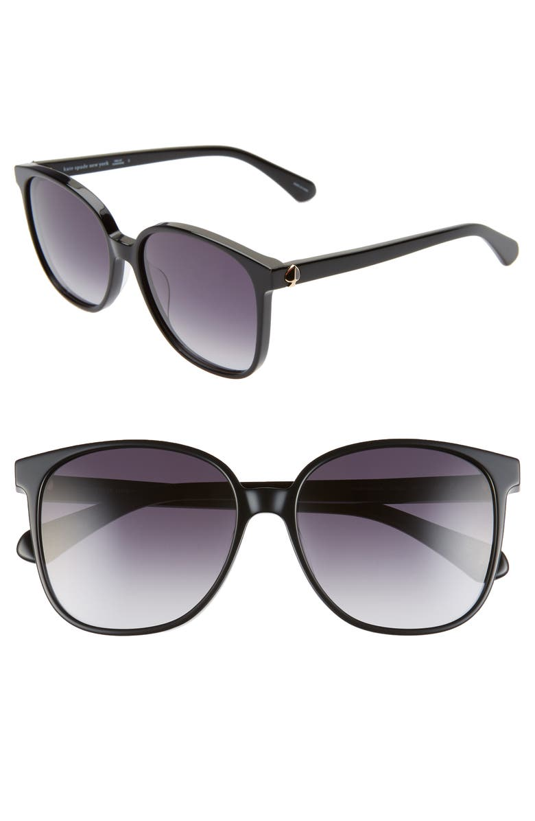 KATE SPADE NEW YORK alianna 56mm rounded cat eye sunglasses, Main, color, BLACK/ DKGREY GRADIENT